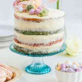 This show-stopping cake is easy to prepare and makes a spectacular centrepiece. Slice into the cake to reveal the beautiful coloured layers.