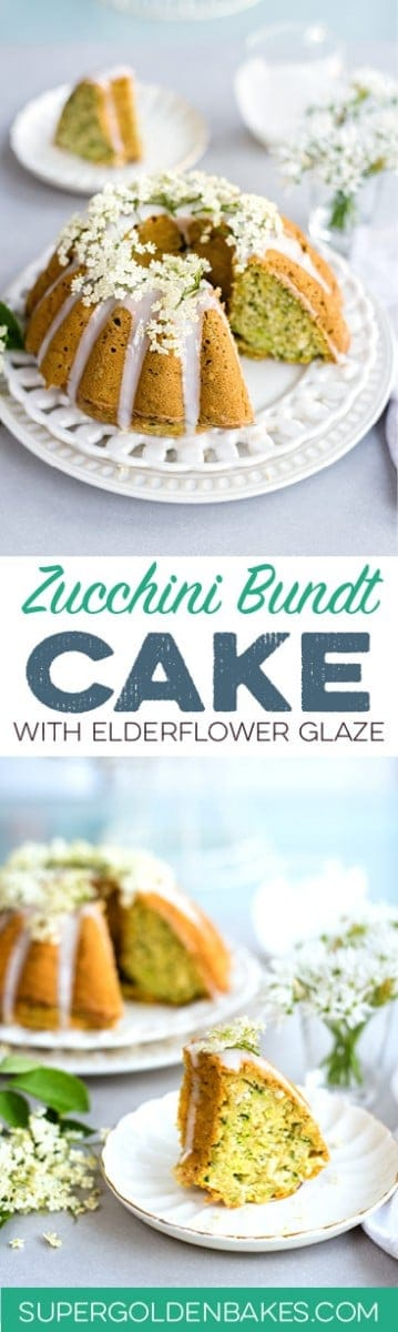 Wonderfully moist zucchini coconut bundt cake with elderflower glaze. Can be baked as a bundt or small loaf cake and it's great for breakfast or snacking.
