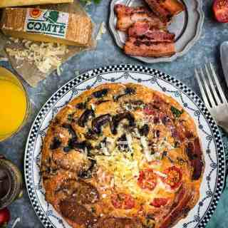 Fully Loaded Breakfast Frittata with Comté Cheese, Bacon, Sausages, Tomatoes and Mushrooms