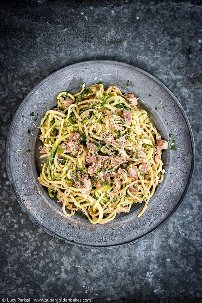 Lightened up 15 minute carbonara with spelt spaghetti and zoodles - no cream or butter!