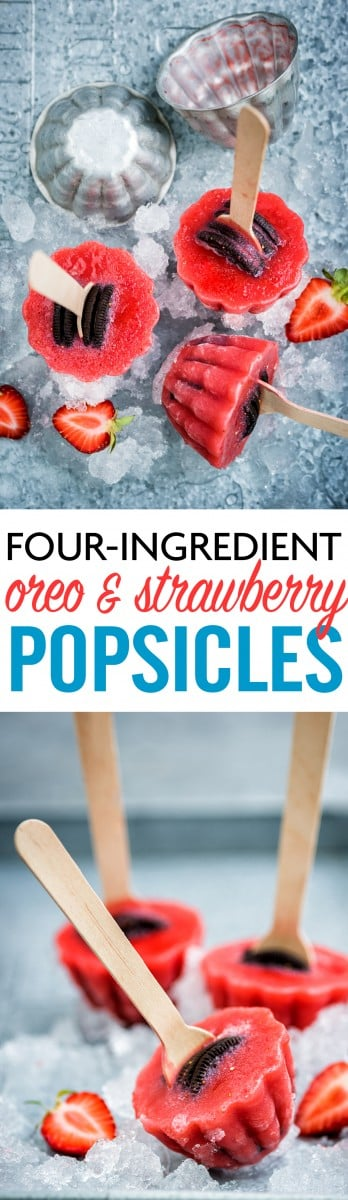 Kids will love these super-simple and delicious Oreo and strawberry popsicles. Only four ingredients and perfect for cooling down this summer.