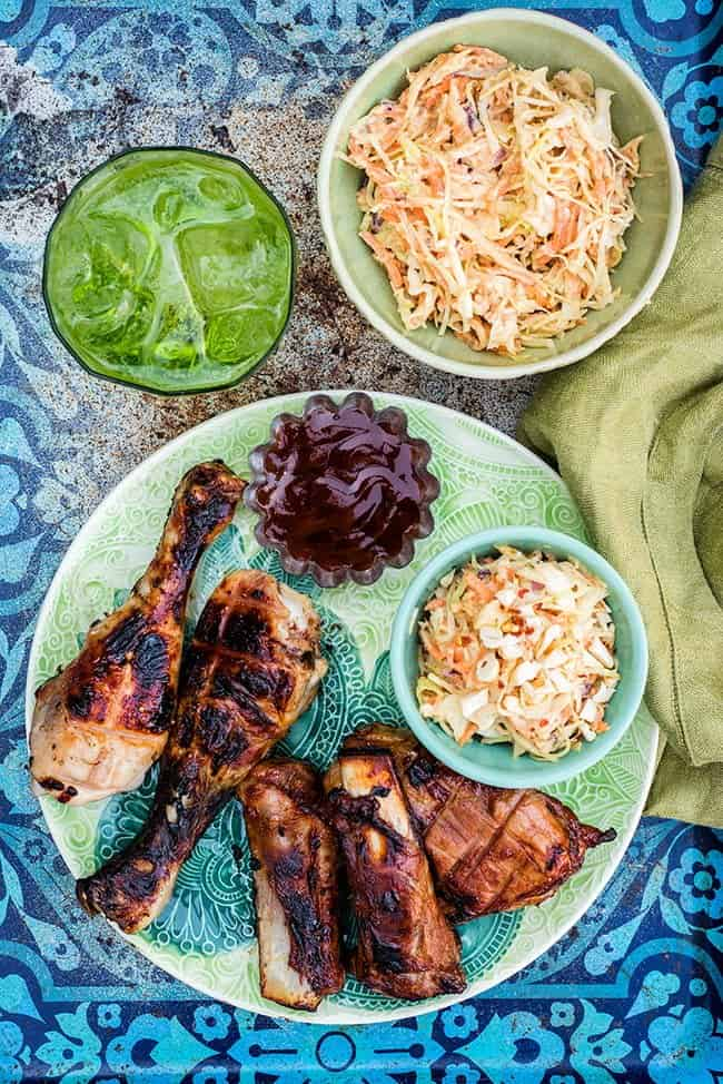 BBQ ribs with addictive Asian coleslaw with peanut dressing