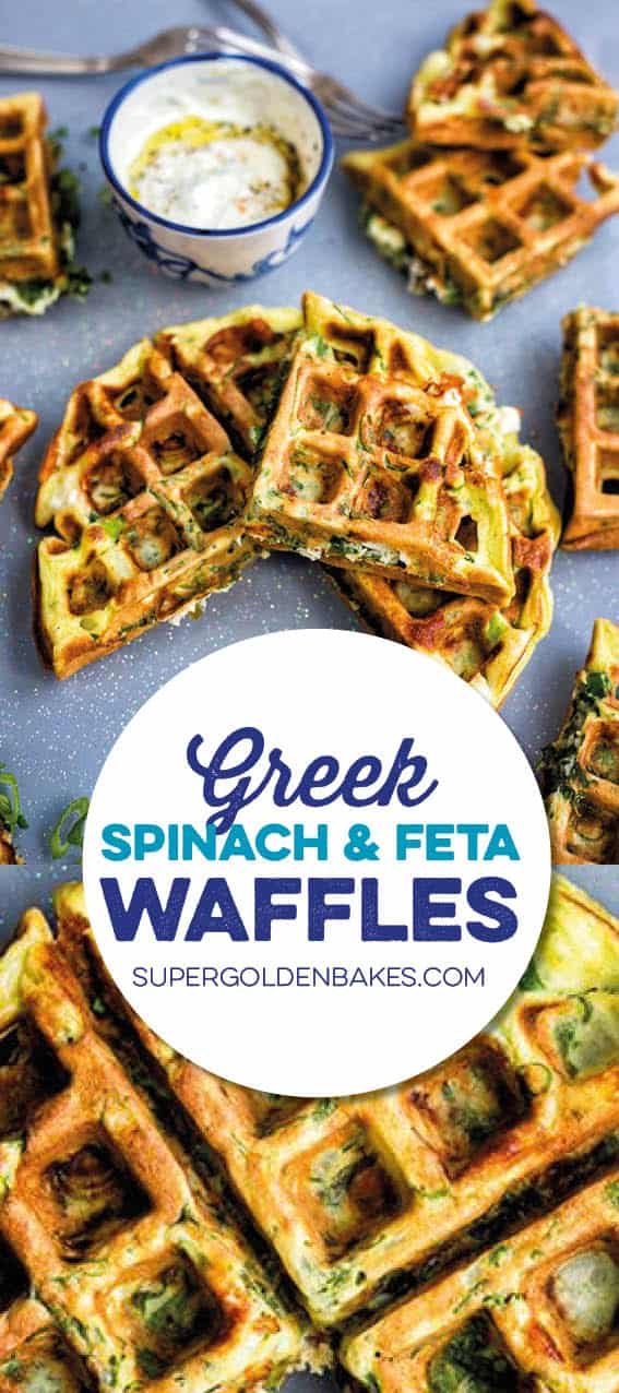 Greek spinach, feta and potato waffles