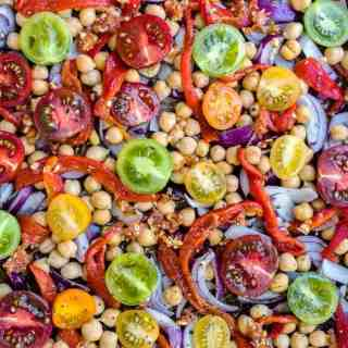 Tomatoes and chickpeas on a tray