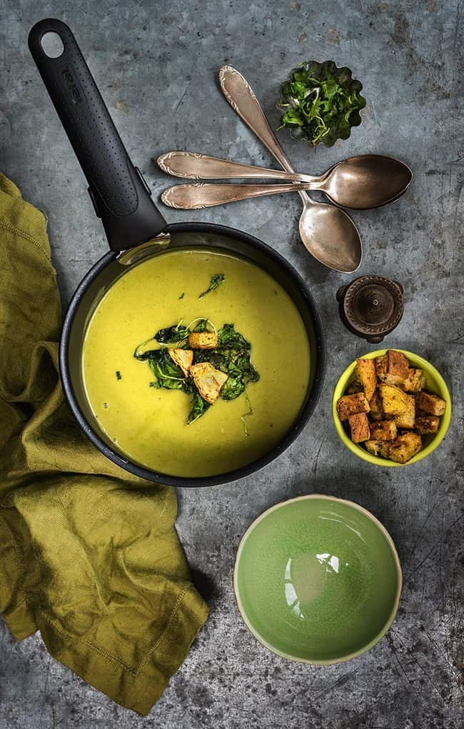 Spinach Coconut Zucchini Soup with garlic croutons