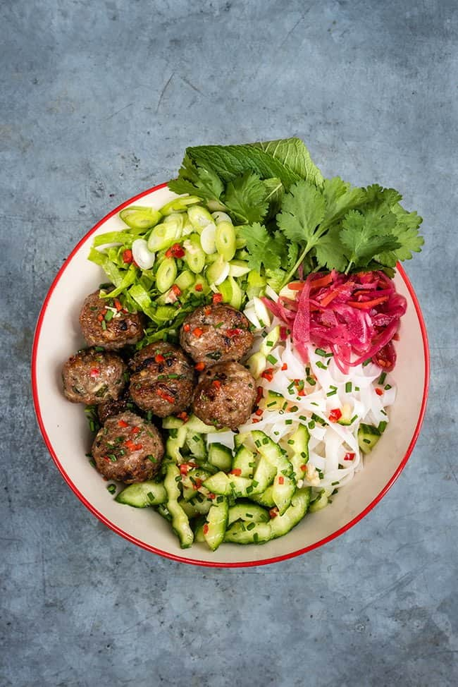Bun Cha - Vietnamese rice noodle salad with grilled pork meatballs