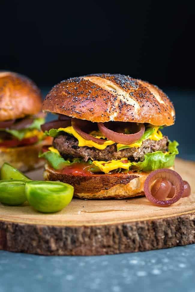 Sausage Beef Burgers on Homemade Pretzel Buns