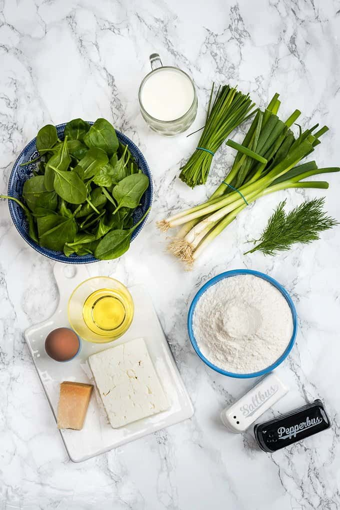 Spanakopita muffins ingredients