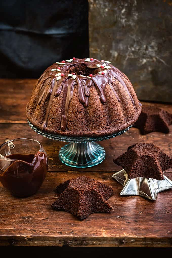Chocolate gingerbread bundt cake with chocolate glaze