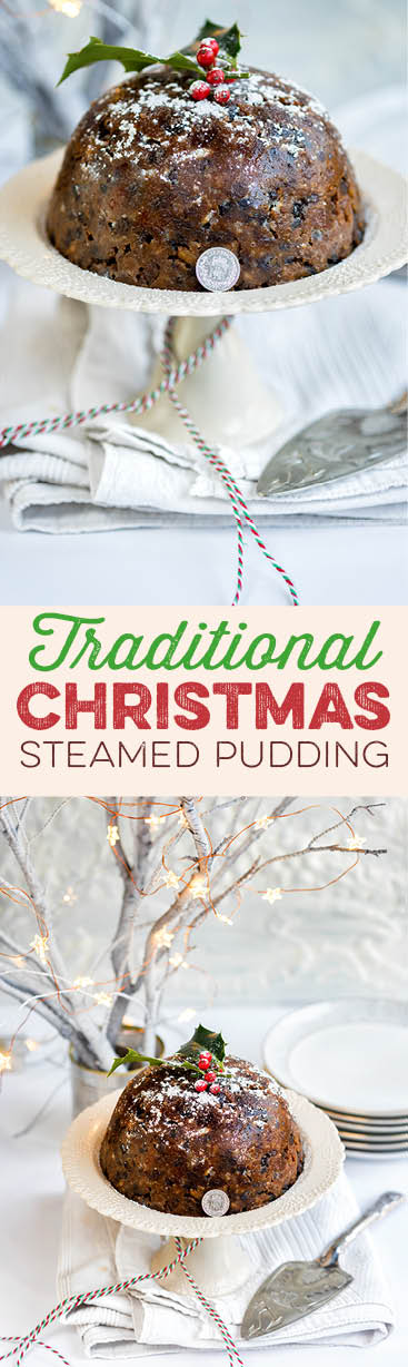 Traditional Christmas pudding - packed with dried fruit, nuts and spices and with a hidden sixpence for good luck