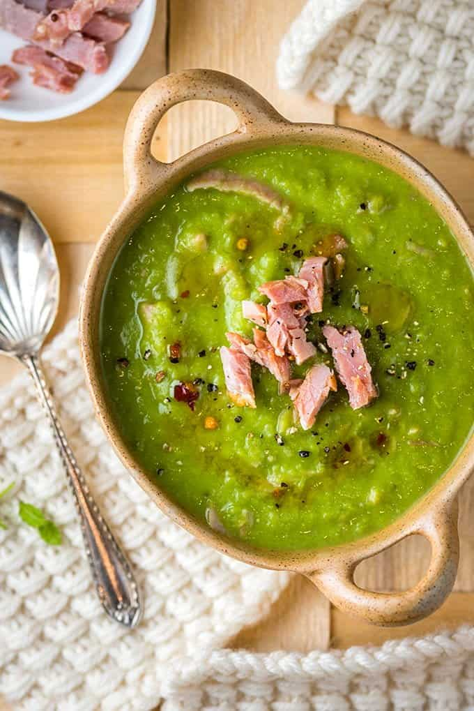 Minted pea and ham soup - hearty and delicious and perfect for using up any leftover festive ham.