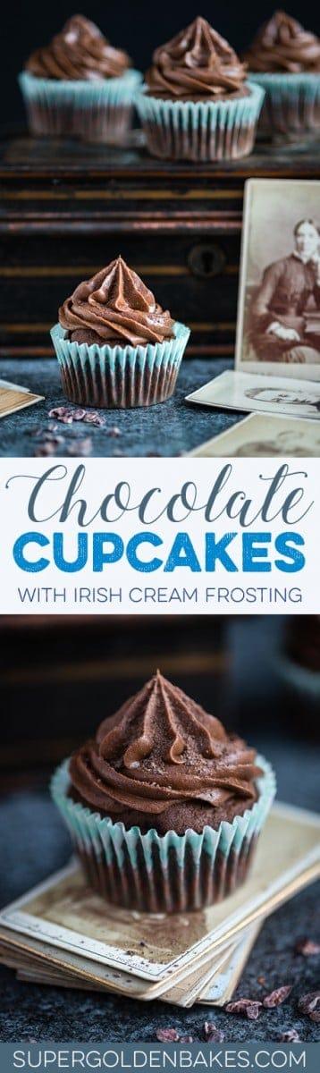 Chocolate cupcakes with chocolate Irish cream frosting – foolproof chocolate cupcakes with the most addictive chocolate, mascarpone and Irish cream frosting. Perfect for St. Patrick's Day!
