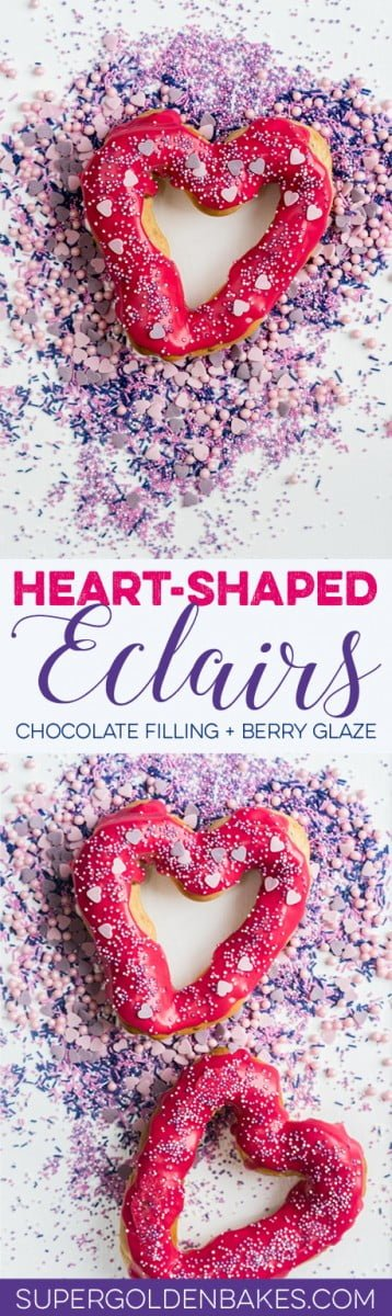Heart-shaped chocolate eclairs with berry glaze and fairy sprinkles! These adorable eclairs are the perfect Valentine's Day dessert.