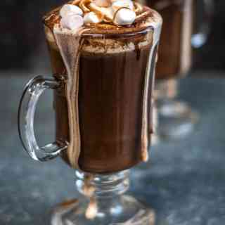 Red wine hot chocolate with marshmallows and whipped cream topping – an indulgent hot drink that's definitely for grown ups only!