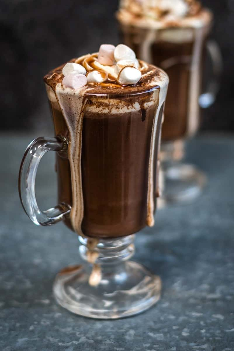 Red wine hot chocolate! This indulgent drink with marshmallows and whipped cream topping is definitely for grown ups only...