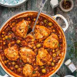 This Spanish-style chicken stew with chorizo, olives and chickpeas is simply packed with flavour.