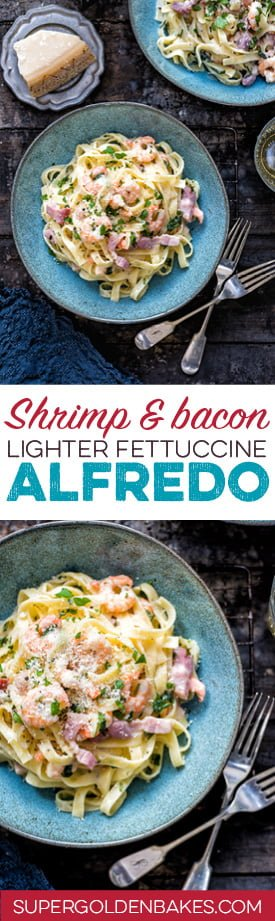 This lightened up shrimp and bacon fettuccine Alfredo is delicious, super-easy and on the table in 15 minutes! Meet your new favourite midweek meal.