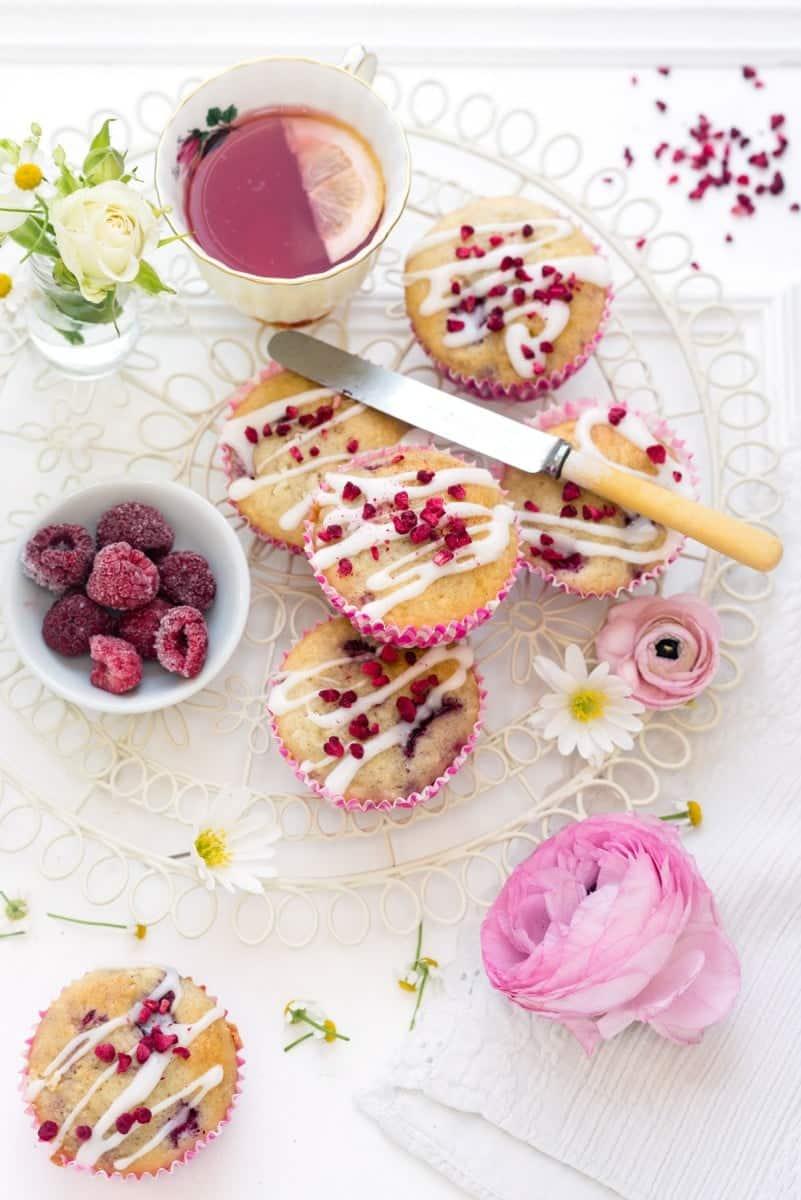 Gluten-free raspberry and white chocolate muffins