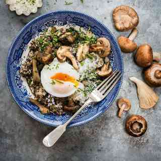 Vegetarian mushroom, spinach and quinoa risotto with oven-poached eggs