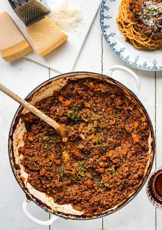 Make a big batch of this best-ever bolognese sauce to serve throughout the week. Made using frozen mince, this is budget friendly as well as totally delicious!
