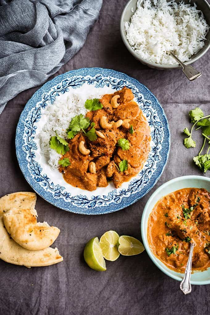 This slow cooker Indian butter chicken curry (chicken makhani) is unbelievably delicious and super easy to make. Serve with steamed basmati rice and plenty of naan bread to mop up the rich sauce.