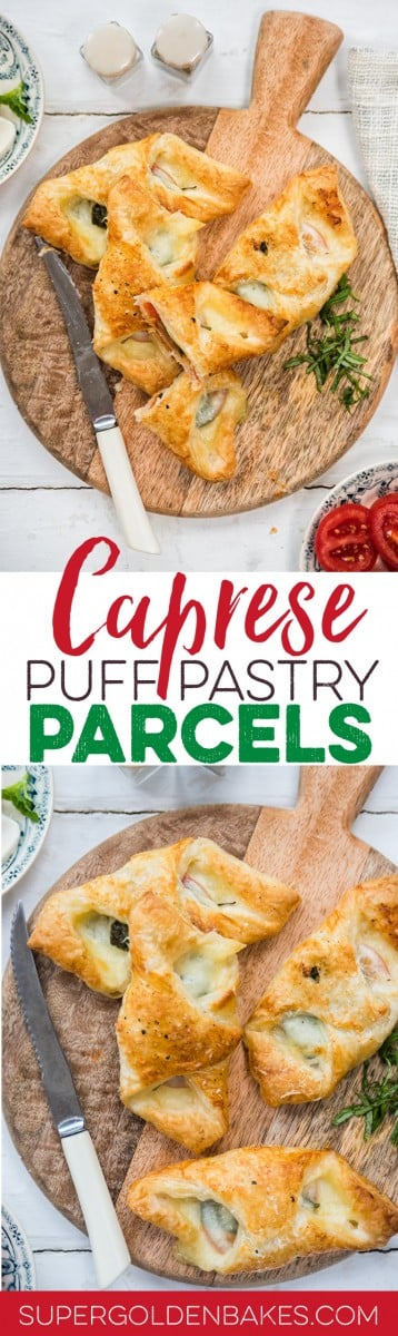 These super-easy vegetarian Caprese puff pastry parcels are great as a quick snack orappetiser | Supergolden Bakes