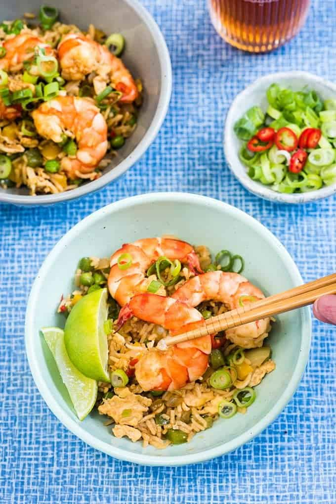 Making this 10 minute shrimp fried rice could not be quicker or easier and it tastes miles better than takeaway. An excellent midweek meal that's sure to become a family favourite.