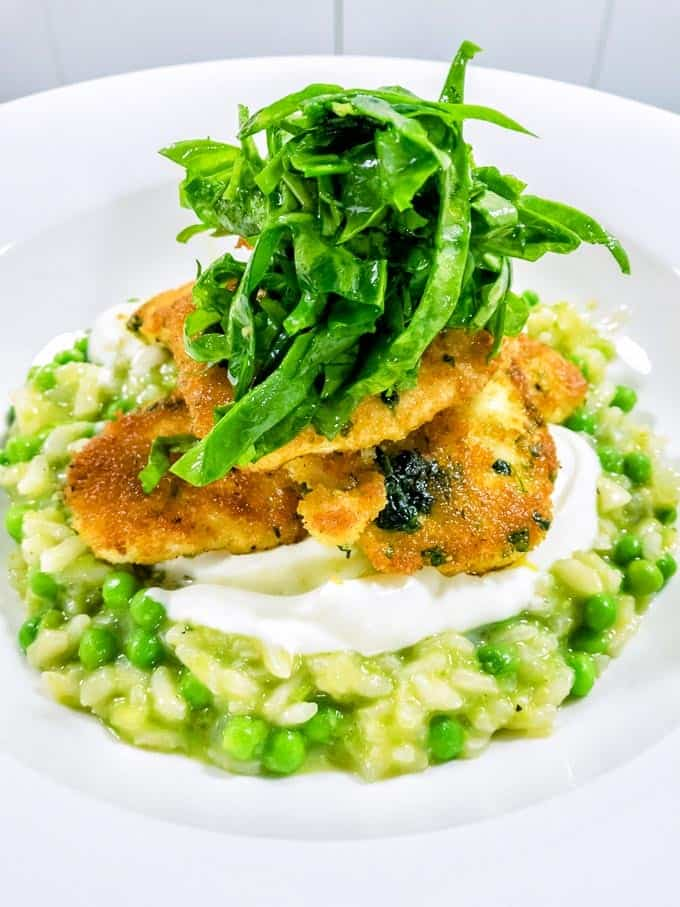 Pea risotto with crumbed chicken at the Tesco Lactose Free event