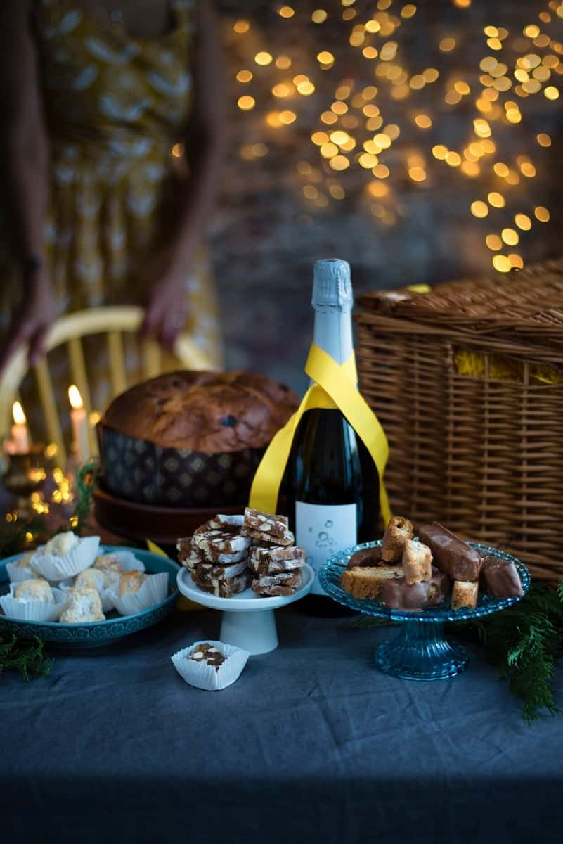 Selfridges Italian Christmas hamper: a sweet feast of panettone, classic amaretti, cantuccini, panforte bites and a bottle of Selfridges Prosecco.