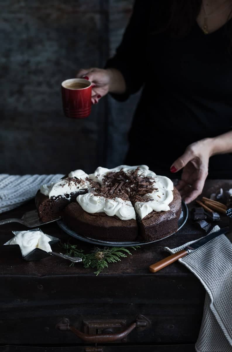 White Russian brownies - an intense chocolate/coffee hit with spiked whipped cream topping #brownies #chocolate #dessert
