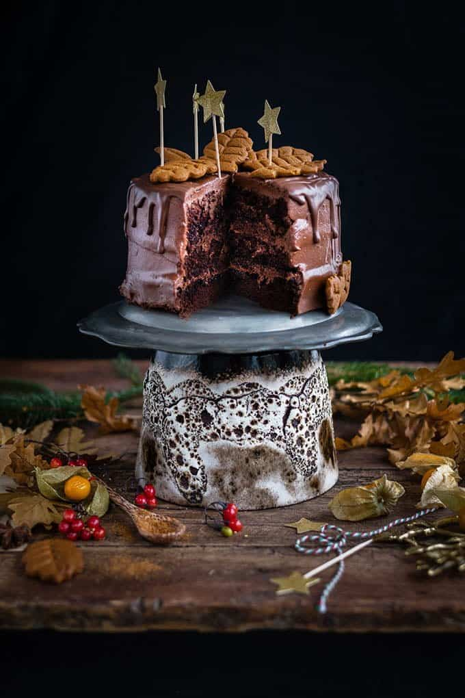Your festive table would proudly display this vegan chocolate gingerbread layer cake - and your guests would be thrilled too!