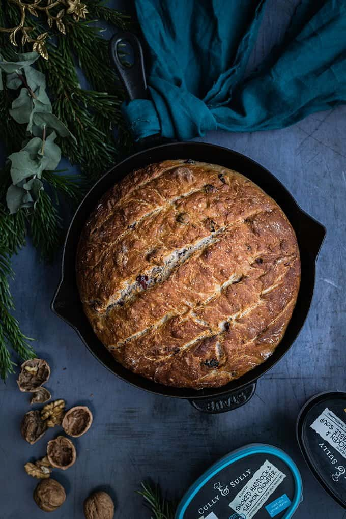 You can customise no-knead bread with cheese, herbs, nuts, dried fruit to your taste