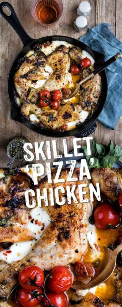 This delicious skillet pizza chicken with pepperoni, mozzarella and spicy tomatoes is sure to become a family favourite #pizza #chicken #familymeal