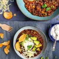 Instant Pot lentil and bean chili