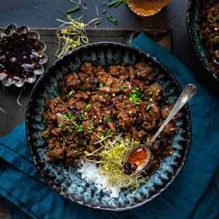 Bowl with spicy beef stir fry
