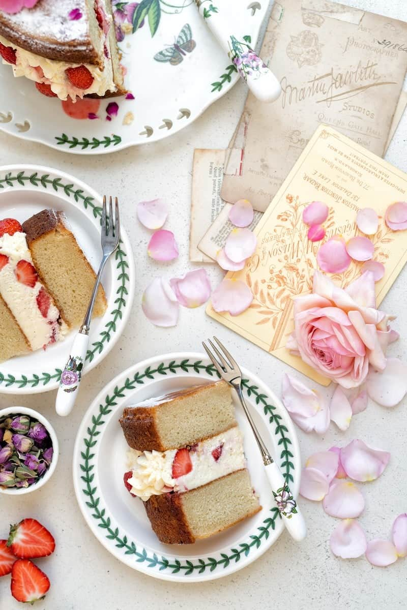 Slices of strawberry rose cake on plates