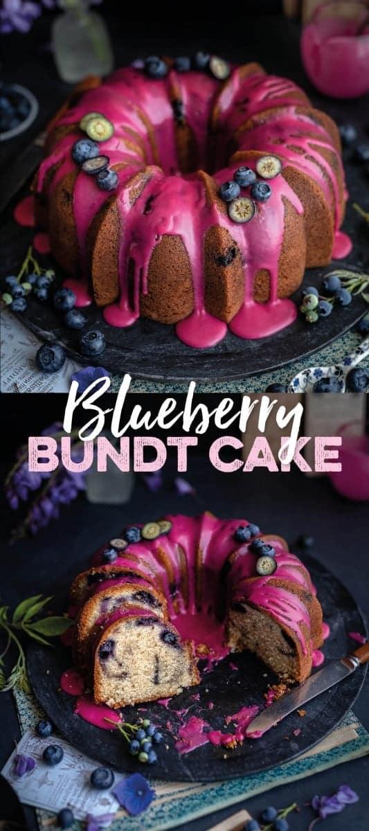 Blueberry bundt cake with blueberry lemon glaze