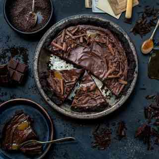 Sliced no-bake salted caramel chocolate tart