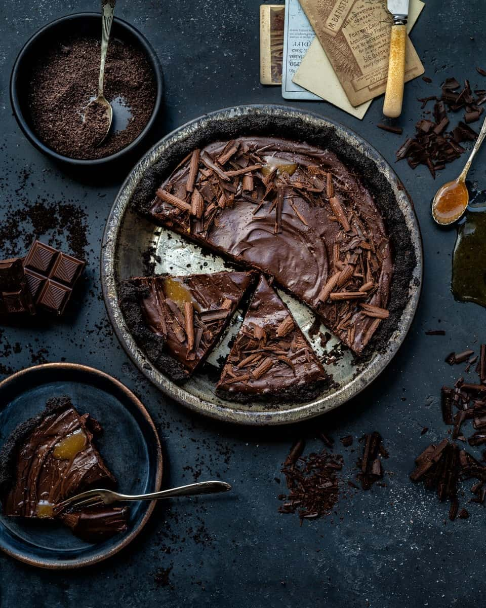 Sliced no-bake salted caramel chocolate tart
