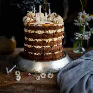 Earl Grey layer cake with candles blown out