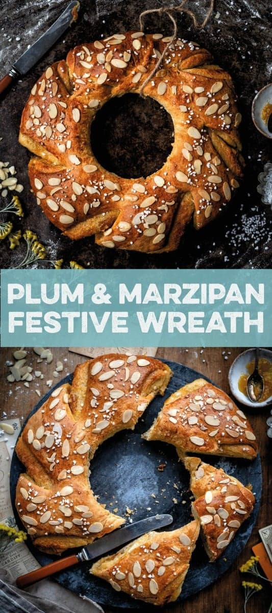 Festive plum and marzipan wreath