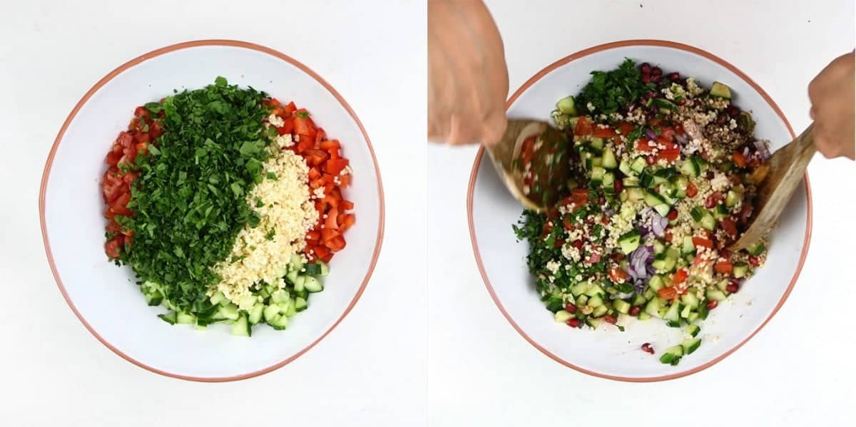 Tossing tabbouleh salad in a large bowl