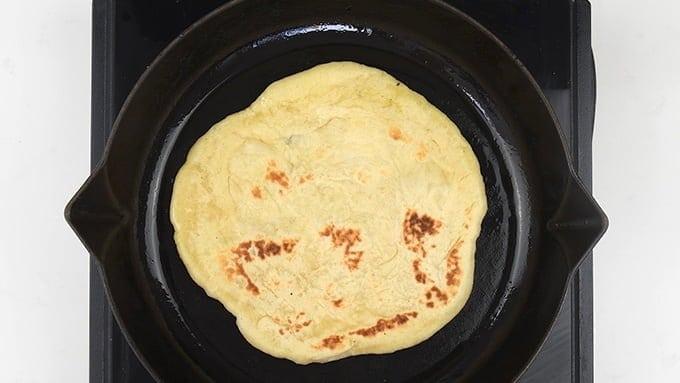 Pan frying pita bread