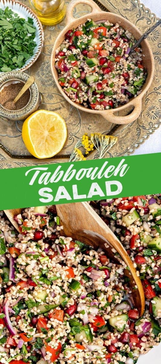 Lebanese tabbouleh salad in a bowl