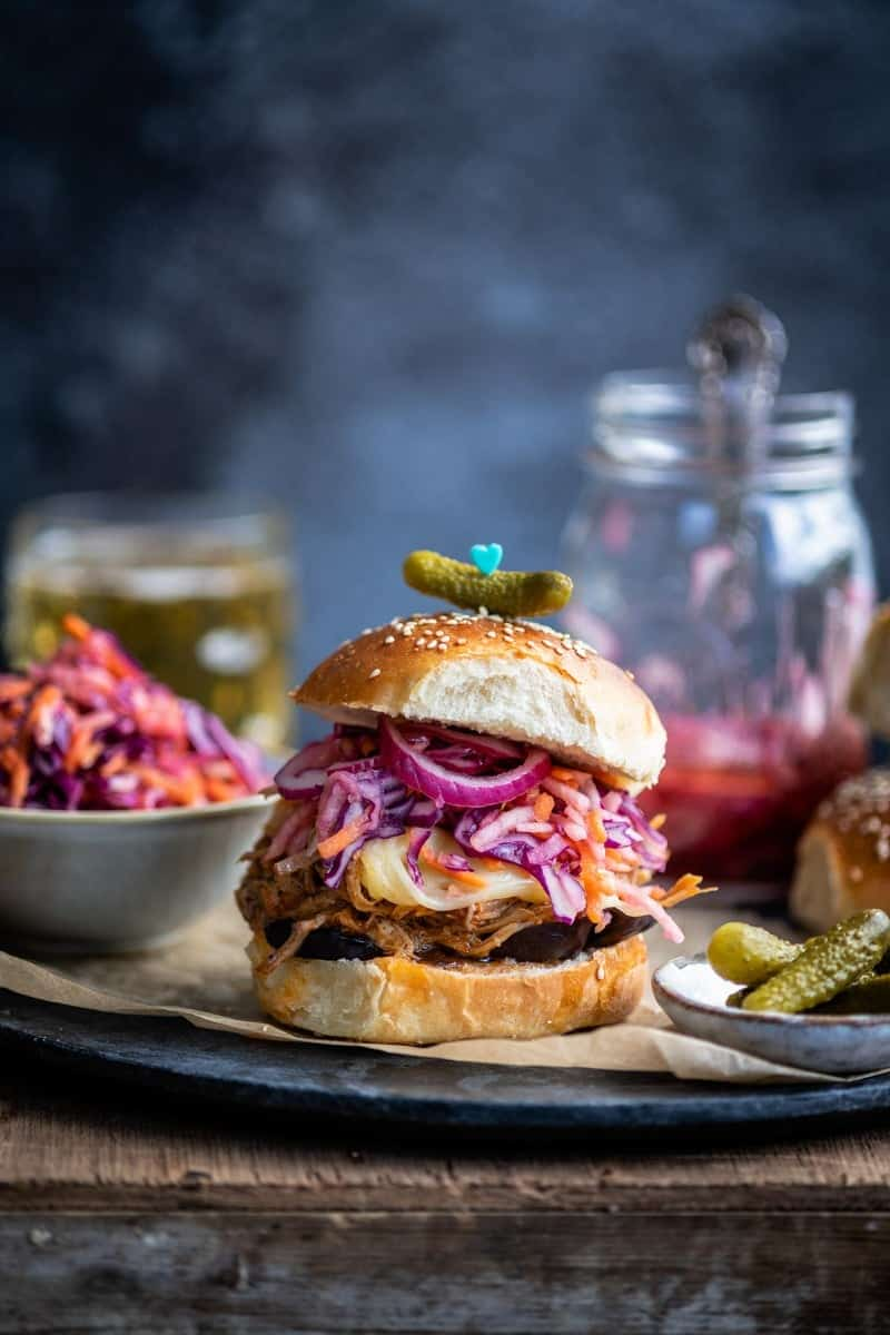 Pulled pork sandwich with coleslaw and pickles