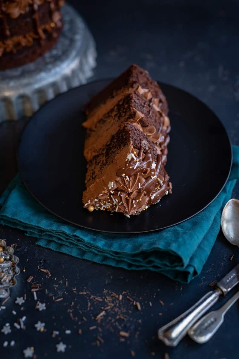 Slice of rich chocolate layer cake