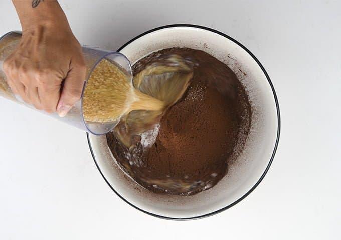 adding liquid to dry ingredients