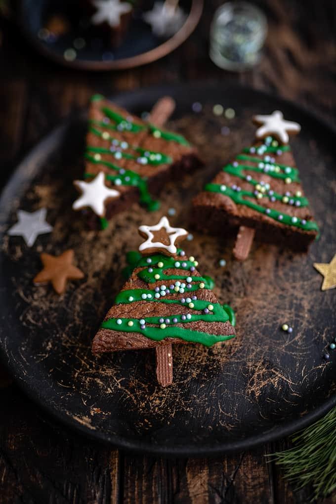 festive Christmas tree brownies