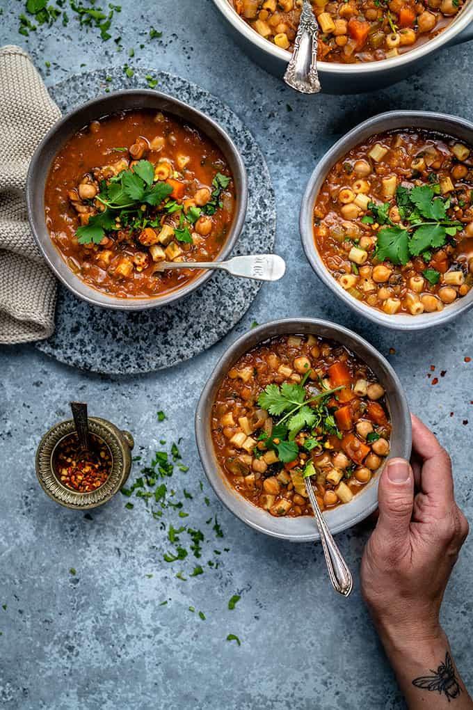 Morrocan harira soup in small bowls