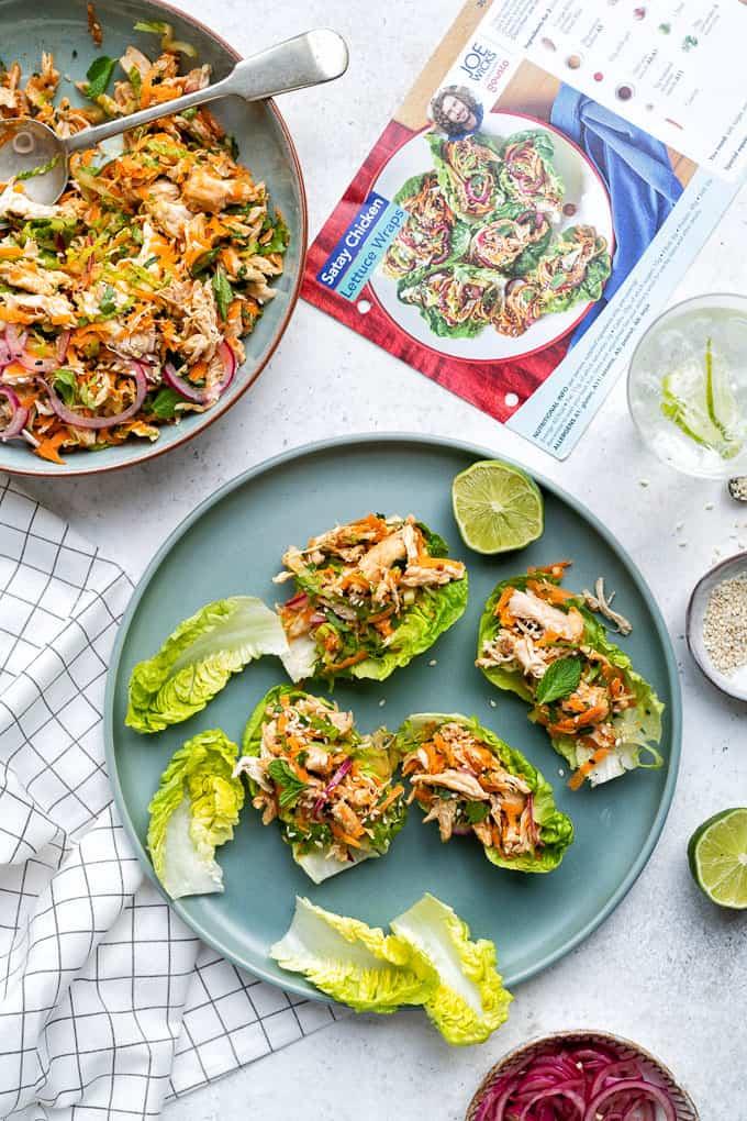 Satay chicken lettuce wraps